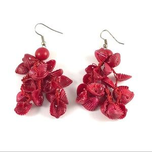 Beautiful Vintage Red Shell Dangle Earrings